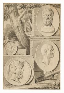 Klassieke ruïne met portret medaillons