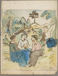 Pratende vrouwen in landschap