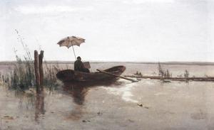 Kunstenaar (W.B. Tholen?) aan het werk