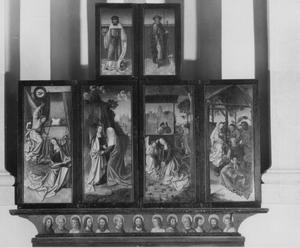 De annunciatie, de visitatie, de H. Rochus (buitenzijde linkerluik); De geboorte, de aanbidding der Wijzen, de H. Antonius van Padua (buitenzijde rechterluik)