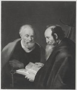 De apostels Petrus Kefas en Paulus discussiërend in Jeruzalem (Galaten 1:18)