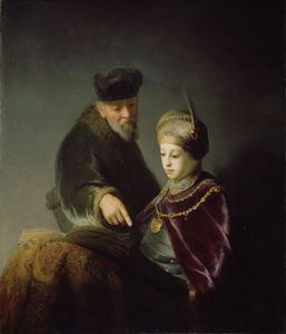 """Portret van waarschijnlijk prins Ruprecht van de Palts (1619-1682) en zijn leermeester als """"Eli en Samuel"""""""