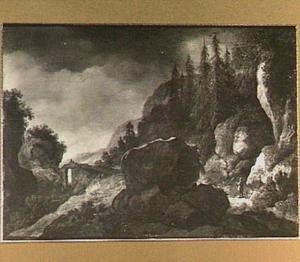 Bosachtig berglandschap met reizigers op een brug over een ravijn