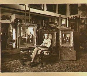 Portret van de schilder Bernard de Hoog in zijn atelier