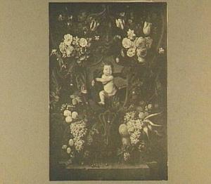 Cartouche versierd met bloemen en vruchten rond een voorstelling met Ganymedes