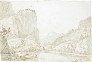 Berglandschap bij Thusis, links de fortificatie van Hoherätien