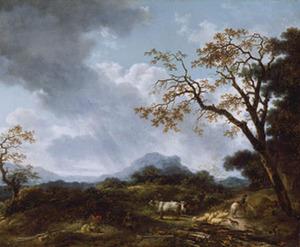Heuvellandschap met vee en voorbijtrekkende regenbui