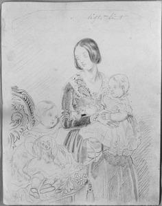 Portret van Wilhelmina Gerretje Sablairolles (1818-1891) met twee dochters