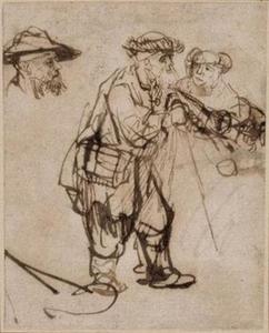 """Studie voor de blinde man geleid door een vrouw in de """"Honderd Gulden prent"""""""