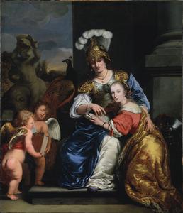 Allegorie op het onderwijs: dubbelportet van Margarita Trip (1640-1714) en Anna Maria Trip (16-1682)