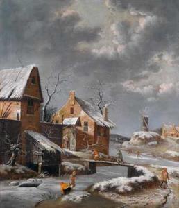 Winterlandschap met huizen langs een bevroeren rivier