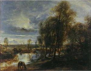 Landschap met grazend paard bij maanlicht