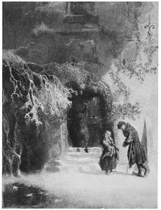 Het portaal van een kasteel in de winter