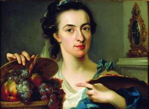 Portret van Catharina Treu (1743-1811), met palet en fruitmand