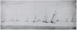 Schepen op kalme zee en de galjoot van Jan (II) van de Velde