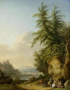 Gezicht op een kasteelruïne aan de Seine met een galant gezelschap