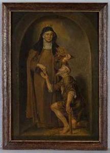 H. Elizabeth van Hongarije schenkt een aalmoes aan een bedelaar