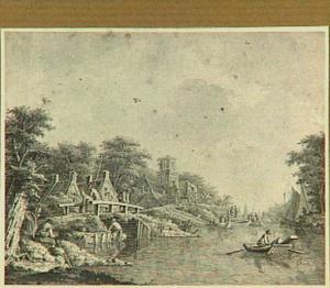 Rivierlandschap met visser en boten, aan de linkerkant een dorp