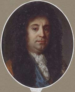 Portret van een man met een lange pruik en een kanten cravat