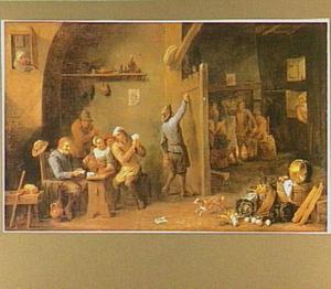 Interieur van een herberg met drinkende en kaartspelende figuren met op de voorgrond een stilleven van keukengerei en groenten