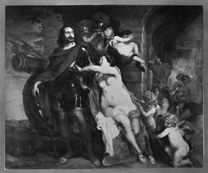 Allegorie op de Vrede: De Grote Keurvorst Friedrich Wilhelm  van Brandenburg ontvangt de wapenen van Venus in de werkplaats van Vulcanus (?)