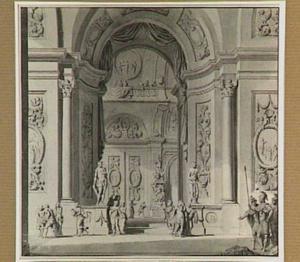 Tempelhal met praalgraf en soldaten