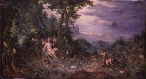 Allegorie van het water (een van de vier elementen): een riviergodin met watervogels, amfibieën en vissen. In de achtergrond Neptunus en zijn najaden en tritonen