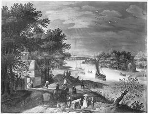 Landschap met reizigers op een weg langs een rivier