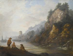 Zuidelijk rivierlandschap met figuren op de voorgrond