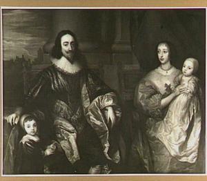Familieportret van Karel I Stuart (1600-1649), koning van Engelend en Henriëtta Maria de Bourbon, koningin van Engeland (1609-1669) met hun twee oudste kinderen Karel 1630-1685) en Maria (1631-1666), met op de achtergrond de Theems bij Westminster