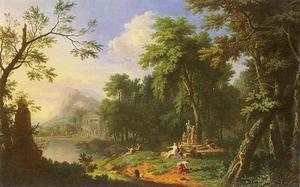 Arcadisch landschap met nimfen die een herme versieren met guirlandes