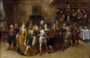 Dansend gezelschap in een interieur