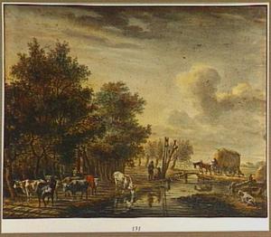 Boomrijk landschap met paard-en-wagen en vee
