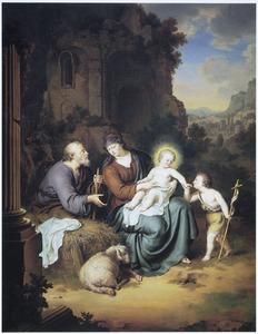 De H. Familie tijdens de rust op de vlucht naar Egypte met Johannes de Doper als kind