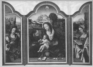 De H. Catharina (links); De Heilige Familie (midden); De H. Barbara (rechts)