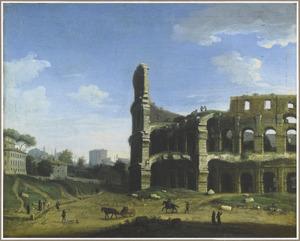 Gezicht op het Colosseum in Rome, vanaf de Meta Sudans