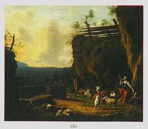 Zuidelijk landschap met herderin en twee kinderen bij vee