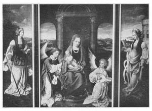 De H. Catharina (links); Maria met kind en engelen (midden); De H. Barbara (rechts)