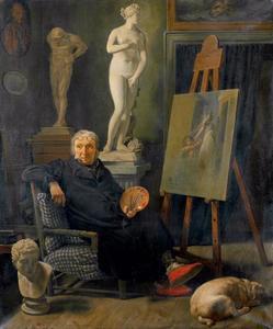 De schilder Christian August Lorentzen in zijn atelier
