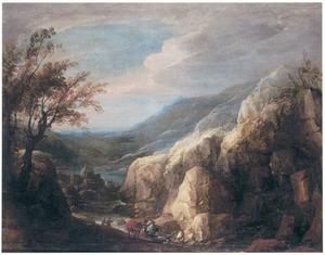 Woest berglandschap met reizigers bij een riviertje