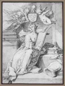 Allegorie op de schilderkunst (Pictura) met het wapen van het Lucasgilde