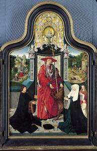 Een stichterspaar en hun kinderen in aanbidding voor de H. Hieronymus. In de achtergrond taferelen uit het leven van Hieronymus