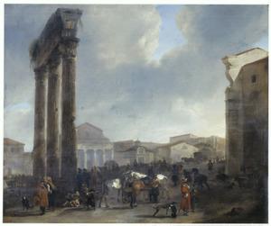 Gezicht op de Campo Vaccino (Forum Romanum) in Rome