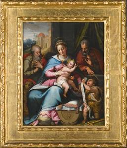Heilige Familie met Sint  Hiëronymus en het kind Johannes de Doper