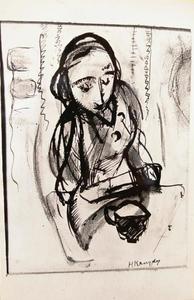 Schrijvende of tekenende figuur met kopje of kannetje naast zich