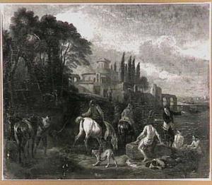Ruiters en baders bij een rivier; op de achtergrond een Italiaanse villa