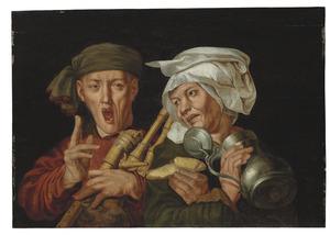 Doedelzakspeler en een vrouw met een tinnen kan