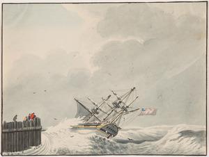 Zeilschip op een woelige zee