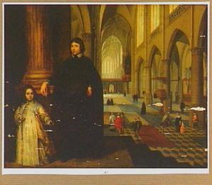 Portret van een geestelijke en een jong meisje in een kerkinterieur