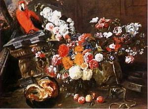 Bloemstilleven met fruit en rode papegaai in een